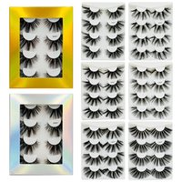 FREE UPS! 2020 New 4 pairs 25mm long Slick false eyelashes 6...