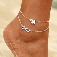 Anfängliche Fußkettchen Herz Infinity Silber Knöchel Armband an Bein Kette 26 Buchstaben Fußkettchen für Frauen Knöchel Strand Fußschmuck