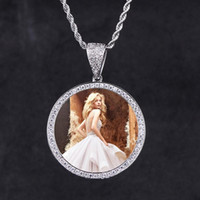 White Gold Iced Out Custom Photo Pendant Iced Out Custom Pic...