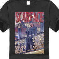 Mens Official Scarface Movie Al Pacino T Shirt Railing Shot ...