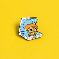 Take Out Pizza émail Broche Livraison à Dog Pizza épinglette Mode créativité chiot nourriture Bijoux animaux mignons Badge Fun