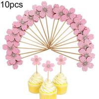 10 Stücke Kirschblüte Glitter Cupcake Cake Topper Hochzeit Geburtstag Party Decor Mithelfer