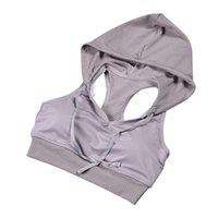 Wholesale- 2017 Frauen Stoß- Hoodie Sport-BH Gym Yoga Bras Laufen Tops Fitness Sport Tanks Tunnelzug mit Hut Neu