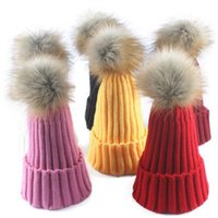 Real Fox Fur Pom Pom Women Beanie Hat Hat With Pompom Ball R...