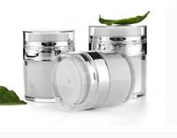 15 30 50G White Pearl акриловые безвоздушного Jar Jar крем с серебряной Воротник 15 30 50ML Косметический вакуумный насос лосьон Jar бутылки SN2614