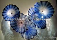 حار بيع الكوبالت الأزرق ستريت العنقودية زجاج مورانو زهرة لوحات الحديثة نمط اليد في مهب الديكور جدار الفن لوحات الزجاج