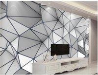 3 gün oda 3D üç boyutlu geometrik grafik çizgiler arka duvar basit yaşam için duvar kağıdı