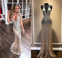 2020 Champagne Evening Dresses Luxury Beading Halter Deep V Neck Sweep Train Mermaid Prom Dress Illusion Formal Gowns Party Wear