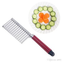 Cuchillo ondulado ondulado de acero inoxidable papas fritas cuchillos de cocina herramientas de cocina fácil de limpiar mango largo anti desgaste 1 25hpC1