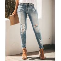 Spring summer Women light blue Ripped long jeans Middle- wais...