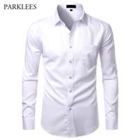 Der weißen Männer der Bambusfaser-Shirts beiläufige dünne Sitz-Knopf herauf Kleid Shirts Männer Solide soical Shirt mit Tasche Formal Geschäfts Camisas
