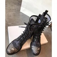 Womens Luxury Designer martin Boots lace up round toes Ankle...