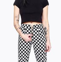 Pantalon Femme Capris Bstcochi Streetwear Femmes Straight Plaid Mesdames Mode Slim Damier Pantalon de jambe femelle