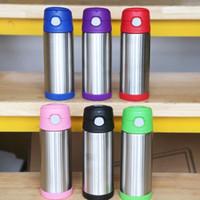 Vácuo de aço inoxidável 350ml Flask Crianças Tumbler Duplas garrafa térmica Bebida Flask Cup Bounce cubra com a tampa e caneca de viagem Straw