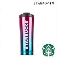 Gradient Couleur Starbucks Tumbler En Acier Inoxydable Thermos tasse Bouteille D'eau Double Paroi Isolée Voitures Tasses À Bière Tasse À Café Bouteille De Voyage