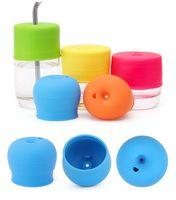 새 아기 아이 실리콘 컵 뚜껑 물 병 메이슨 항아리 아기 유아에 대 한 흘 렸 어 - 증거 컵 커버