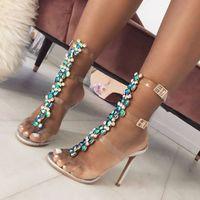 2019 новые летние сандалии женщин пряжки ремень роскошный синий Кристалл цепи прозрачный ПВХ высокий каблук OpenToe сексуальные сандалии обувь