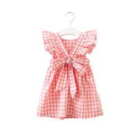 Hurave verano sin mangas a cuadros bebé niña ropa ruffles backless niños vestido de tripulación cuello bebé vestidos niños ropa GB276