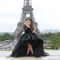 2019 salut lo filles pageant robes bijou col manches longues dentelle fleur fille robe enfants adolescents enfants portent une robe de communion fête d'anniversaire