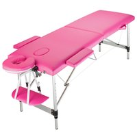 Table de lit de massage Waco, portable 2 meubles de spa multi-fonction pliantes, lits de salon de berceau facial ajustable, 73x24x25inches - rose
