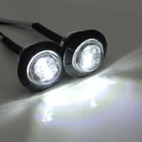 "10X Mini 3/4"" Round Side 3 LED marcador Trailer Bala Car Light Waterproof Branco"