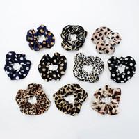 10 Color Color Girls Velvet Dots Leopard Anillo Elástico Pelo Lazos Accesorios Accesorios Ponillo de PonyTail Titular Hairbands Cuerdas de goma Scrunchies