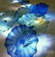 100% рот взорванные боросиликатные лампы Murano пластина декоративная рука синий стеклянный стеклянный висит настенные художественные плиты