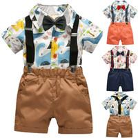 2PCS criança crianças Bebés Meninos Gentleman Roupa Set impressão dos desenhos animados Camisa Top + Shorts geral Outfit Suit partido roupa de casamento