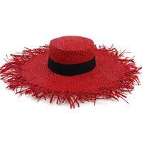 2019 여성 손 뜨개질 태양 보호 챙 라 피 트 밀 짚 모자 큰 다리 여성 모자 무두질 된 가장자리와 모자 모자