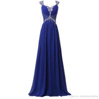 Royal Blue 2019 Vestidos de noche Vestidos de noche de gasa larga Vestidos de lentejuelas PROM FORMAL INVITADOS PORTE LARGO PLUENTE TAMAÑO TAMAÑO ESPECIAL OCURSA VESTIDOS