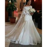 Lange Ärmel Brautkleider mit Spitze Applikationen 2019 Gericht Zug Meerjungfrau Brautkleider Lace Up Brautkleid Robe De Mariee