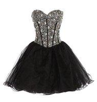 블랙 탑 홈 메이 드레스 상류 라인 석 패션 물고기 뼈 뒷면 스트랩 짧은 신부 들러리 파티 드레스 플러스 사이즈 댄스 파티 드레스
