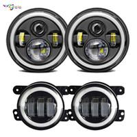 7 zoll 60 Watt Runde Led-scheinwerfer H4 Auto Halo Ring DRL Hallo / Abblendlicht + 4 zoll LED Hilfs PassingFog Lichter Für Jeep Wrangler JK CJ