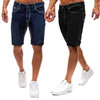 Neue Mens Pure Color Slim Fit europäische Größe Casual Style Denim modische knielange kurze Jeans