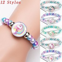 Pulsera a presión Unicornio Perlas de cristal Pulseras Brazaletes para niños Fiesta de chicas Unicornio Charm Bracelet Pulsera para niños