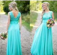 2019 Country Style Turquoise Bridesmaid Dresses Scoop Lace C...