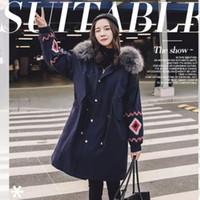 2018 Inverno New bordado Down Jacket Feminino solto Grande gola de pele jaqueta desgaste dois para baixo na seção longa