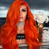 130 150 180Density Burmese Hair Front / Full Lace Wigs Couleur Orange Naturel Droit Avec Des Cheveux