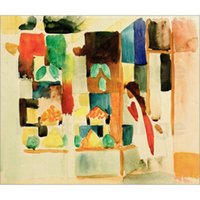 Abstract art Children next to Grocers Shop I August Macke Oil painting canvas artwork for living room decor hand painted