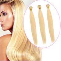 Free shipping Blond 613 human hair weft 3 bundles straight b...