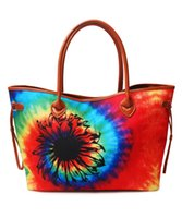 Venta al por mayor Tie Dye Tote Bag Mixed Colors Weekend Bag Customized Rainbow Canvas Tote Bag With Black Sunflower DOM-1081333