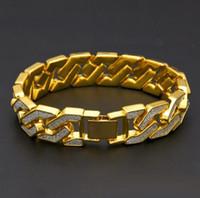 Hommes Hip Hop Bracelets or Bracelets diamant Simulations bijoux à la mode bling bling Glacé Miami Cuban Chain Link Bracelet cadeau