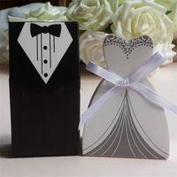 Wedding 100pcs mariage Decoração do casamento Casamento Casos nupcial noivo smoking Vestido Ribbon Vestido de favores dos doces Caso Sugar Box