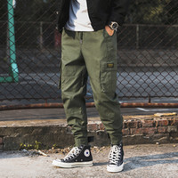 2019 패션 뉴 남성 카고 바지 코튼 망 조깅 힙합 Streetwear 바지 육군 블랙 Drawstring 캐주얼 하렘 바지 남성