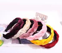 Moda sólido terciopelo de Corea Tela trenza diadema con los dientes las mujeres para los accesorios del pelo de Hairband tuerce niñas aro ancho del pelo