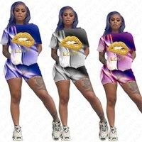 Kadınlar Dudaklar Harf Eşofman Gradyan Renkler Baskı Tasarımcı Kısa Kollu T Shirt Şort İki Adet Set Kıyafetler Günlük Spor Suit D7206