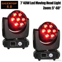 Gigertop TP-L740 320W 7 x 40W RGBW 4IN1 Led Moving Head Zoom luce DMX512 controllo Os-ram originale 5-60 gradi Zoom 12/17 ChannelFreeshipping
