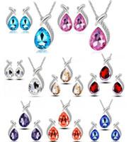 Mode de haute qualité 925 bijoux beauté poisson diamant Zircon cristal boucle d'oreille Collier Set Saint Valentin Cadeaux de vacances