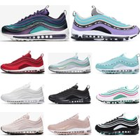 nike air max 97 classic 97 shoes Mens women Running Shoes Negro Rojo Blanco Trainer Cojín Superficie Respirable Deportes zapatillas de deporte tamaño 36-45