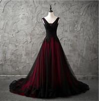 Gotico nero e rosso abiti da sposa 2020 nuova di vendita calda Vestido De Novia Corte dei treni su misura V-Collo Tulle A-Line Abiti da sposa in pizzo W263